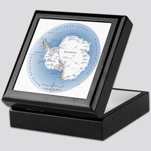 Antarctica Labeled Map Keepsake Box